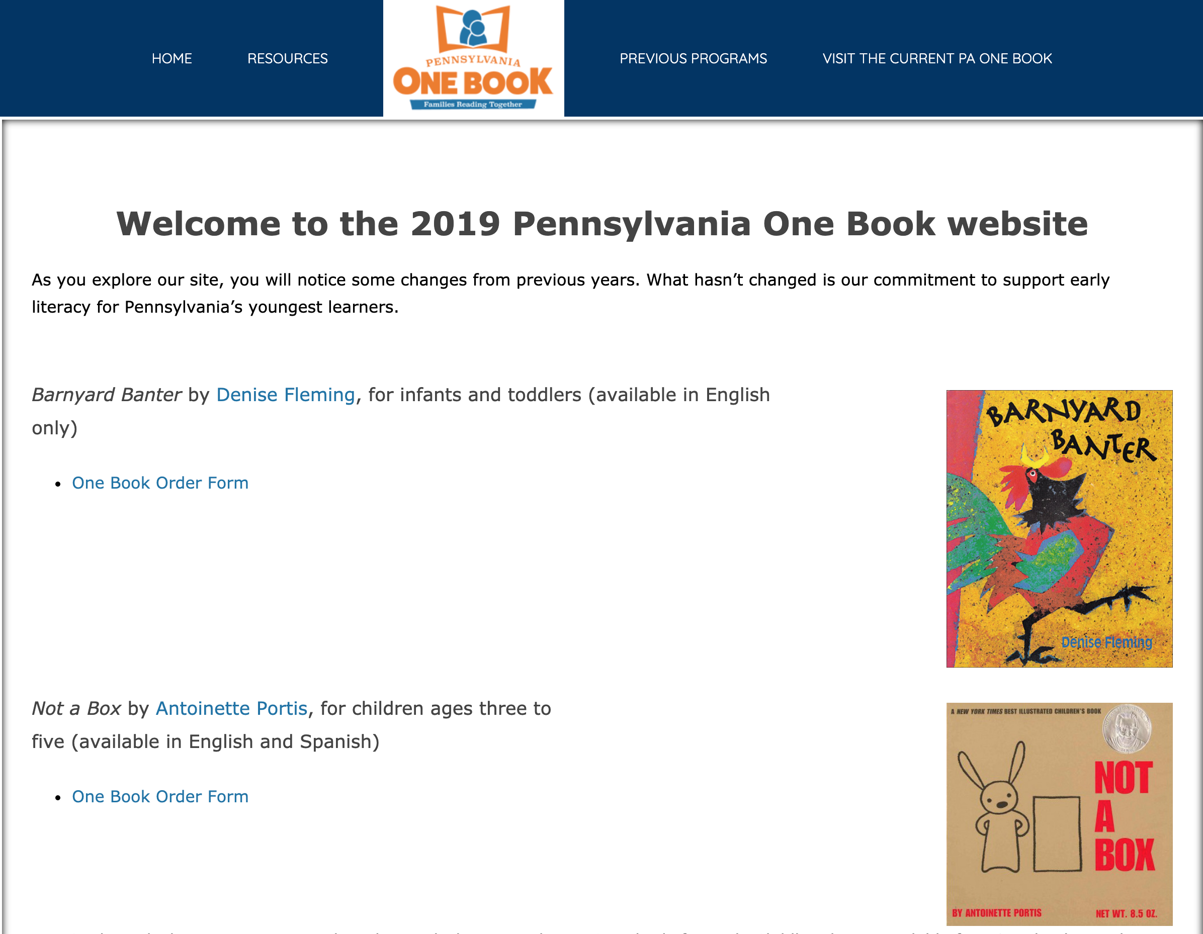 2019 PA One Book
